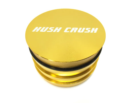 "Hush Crush 2.5"" 4-Piece Tiered-Towered Magnetized Herb Grinder - Gold - Lighter USA"