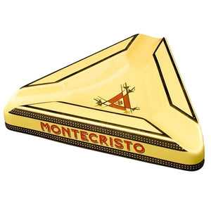 Montecristo Triangle Ceramic Ashtray - Yellow - Lighter USA