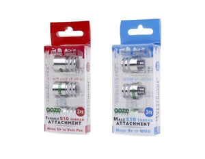 Ooze Male or Female 510 Thread Attachment Adapter 3Pc/Pk