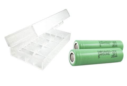 Samsung 18650 25R 2500mAh Lithium-ion Battery - 2PK + 2 Pack Case Batteries Samsung - Lighter USA