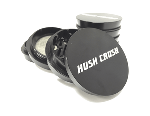 "Hush Crush 2.5"" 4-Piece Tiered-Towered Magnetized Herb Grinder - Black - Lighter USA"