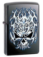 Zippo Lighter - Flaming Chrome Skull Licorice