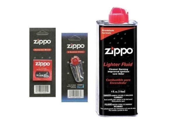 Zippo Combo Pack - 4 oz Fluid + 1 Wick + 1 Pack Flint - Lighter USA
