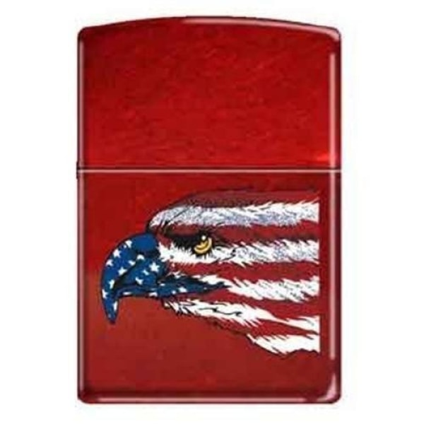 Zippo Lighter - American Eagle and Flag Candy Apple - Lighter USA
