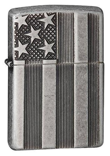 Zippo Lighter - American Flag Armor Antique Silver Plate - Lighter USA - 1