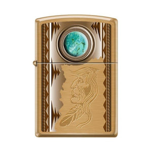 Zippo Lighter - American Indian w/ Turquoise Brush Brass