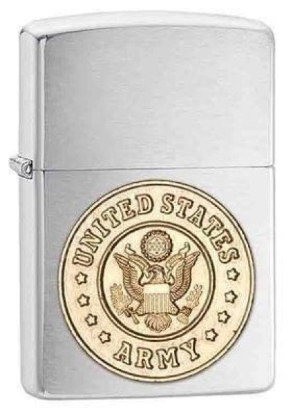 Zippo Lighter - Army Emblem Brushed Chrome - Lighter USA