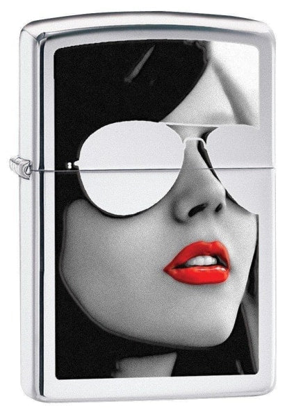 Zippo Lighter - BS Woman In Sunglasses High Polish Chrome - Lighter USA