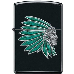 Zippo Lighter - Chief With Turquoise Feathers Black Matte