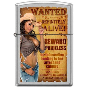 Zippo Lighter - Cowgirl Wanted Satin Chrome