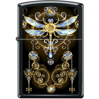 Zippo Lighter - Dragonfly Steampunk Black Matte - Lighter