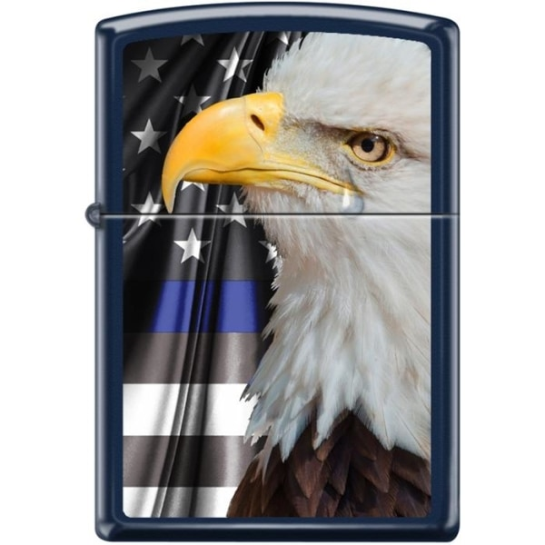 Zippo Lighter - Eagle W/ Flag Navy Blue Matte - Lighter