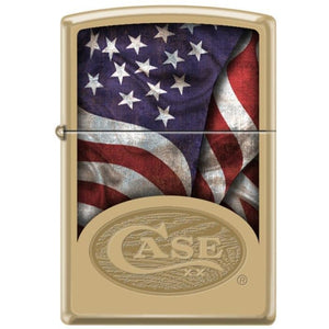 Zippo Lighter - Flag Case Logo Solid Brass