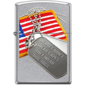 Zippo Lighter - Flag & Dog Tag Street Chrome