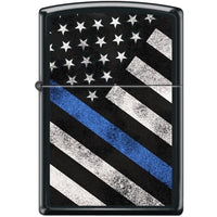 Zippo Lighter - Flag W/ Thin Blue Line Black Matte - Lighter