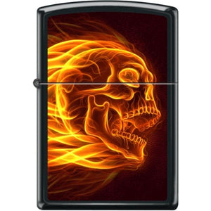 Zippo Lighter - Flaming Skull Black Matte