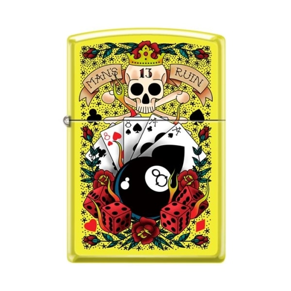 Zippo Lighter - Gambling Neon Yellow - Lighter