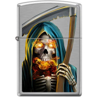 Zippo Lighter - Grim Reaper Brushed Chrome Lighter Zippo - Lighter USA