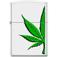 Zippo Lighter - Half a Pot Leaf Pipe Lighter White Matte