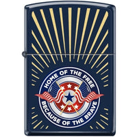 Zippo Lighter - Home Of The Free Navy Blue Matte - Lighter