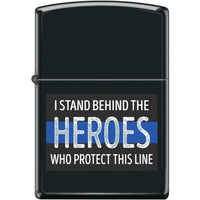 Zippo Lighter - I Stand Behind The Heroes Black Matte - Lighter