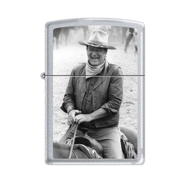 Zippo Lighter - John Wayne Trail Boss Satin Chrome - Lighter USA - 1