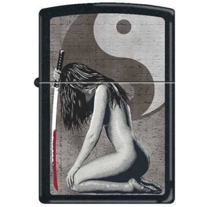 Zippo Lighter - Lady with Sword Black Matte