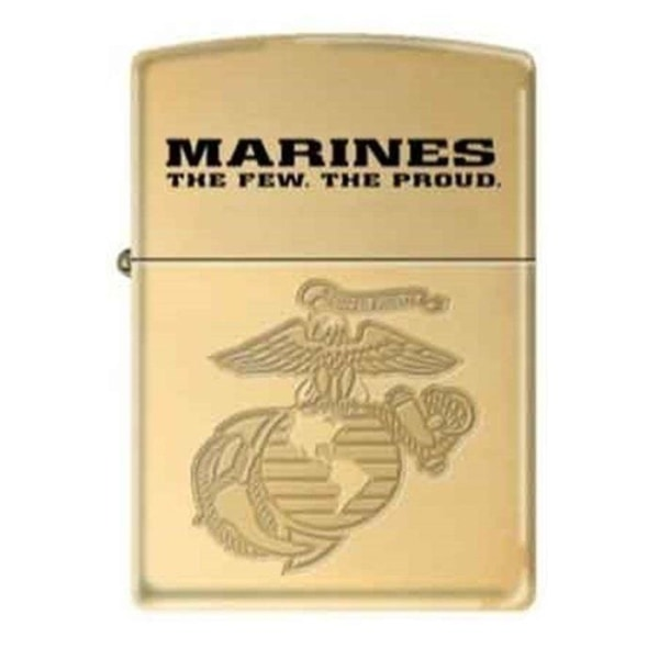 Zippo Lighter - Marine Corps Armor Heavy Walled High Polish Sold Brass - Lighter USA - 1