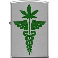 Zippo Lighter - Medical Symbol & Pot Leaf Brushed Chrome