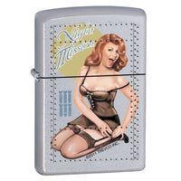 Zippo Lighter - Night Mission Pinup Satin Chrome