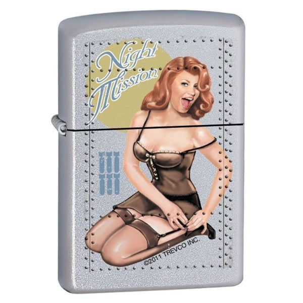 Zippo Lighter - Night Mission Pinup Satin Chrome - Lighter USA