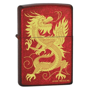 Zippo Lighter - Oriental Dragon Candy Apple Red