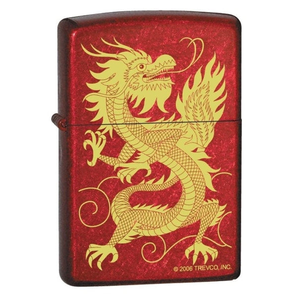 Zippo Lighter - Oriental Dragon Candy Apple Red - Lighter USA