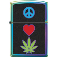 Zippo Lighter - Peace Pot Leaf Spectrum Finish - Lighter