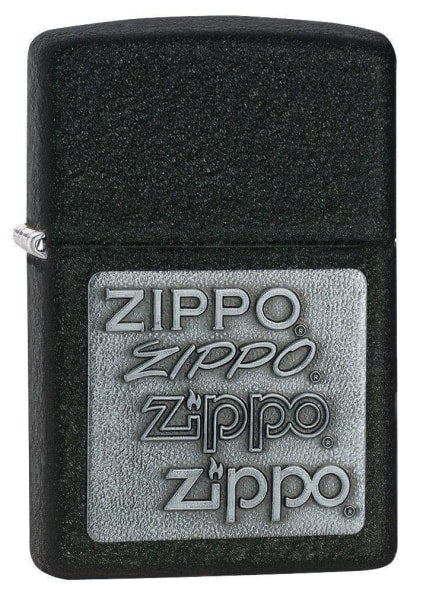 Zippo Lighter - Zippo Pewter Emblem Black Crackle - Lighter USA