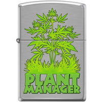 Zippo Lighter - Plant Manager Brushed Chrome - Lighter