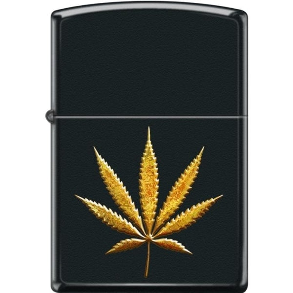 Zippo Lighter - Pot Leaf In Gold Black Matte - Lighter