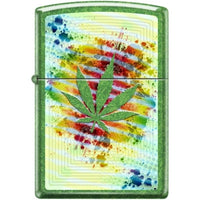 Zippo Lighter - Pot Leaf Meadow Finish - Lighter