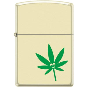 Zippo Lighter - Pot Leaf - Smiley Face Pipe Lighter Creme Matte