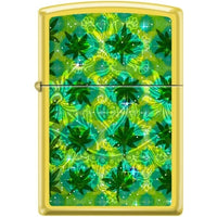 Zippo Lighter - Pot Leaves On Lemon Finish - Lighter