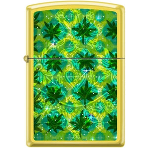 Zippo Lighter - Pot Leaves on Lemon Finish