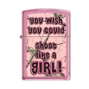 Zippo Lighter - Realtree Shoot Like a Girl Pink Matte