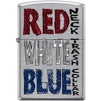 Zippo Lighter - Red Neck - White Trash Street Chrome