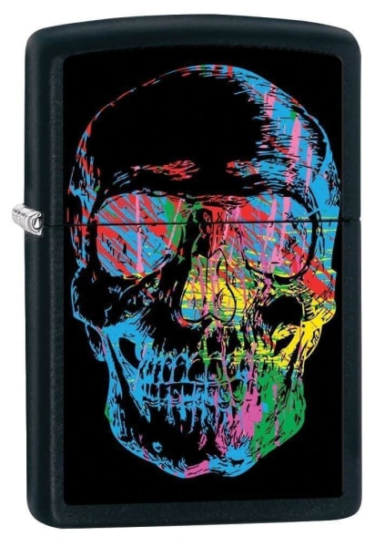 Zippo Lighter - Skull Black Matte - Lighter USA
