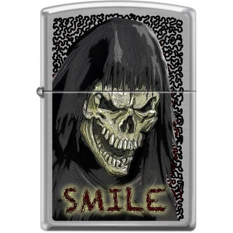 Zippo Lighter - Skull Smile Brushed Chrome - Lighter