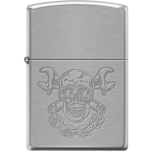Zippo Lighter - Skull With Wrenches Brushed Chrome