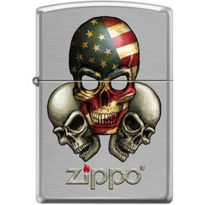 Zippo Lighter - Skulls With Flag Chrome Arch