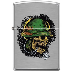 Zippo Lighter - Soldier Skull Brushed Chrome