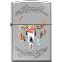 Zippo Lighter - Steer Skull High Polished Chrome
