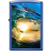 Zippo Lighter - Sunset In Wave Blue Matte